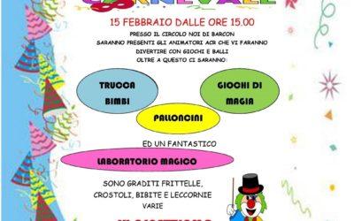 FESTA DI CARNEVALE 15 FEBBRAIO 2020 DALLE ORE 15.00